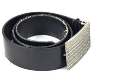 Black leather belt and vintage buckle Royalty Free Stock Images