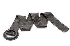 Black leather belt. Vintage black leather belt isolated on white Stock Image