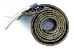 Black leather belt  on white background Stock Image