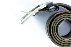 Black leather belt  on white background Royalty Free Stock Photo