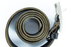 Black leather belt on white background Royalty Free Stock Image