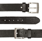Black leather belts with silver buckle Stock Images