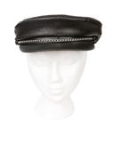 Black leather biker hat Stock Images
