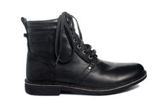 Black leather boot. On white Royalty Free Stock Image