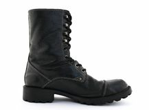 Black leather boot Stock Photo