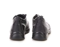Black leather boot. Back view. Stock Images