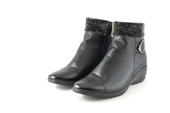 Black leather boot Stock Image