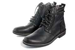 Black leather boots. Pair of black leather boots  on white Stock Photo