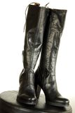 Black leather boots Stock Photos