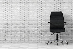 Black Leather Boss Office Chair. 3d Rendering Royalty Free Stock Images