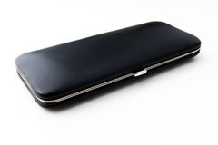 Black leather box. Black leather glat box with metallic knob Royalty Free Stock Photos