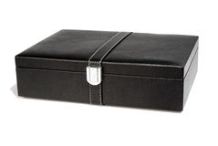Black leather box. Over a white background. Good for putting in a business preasent Royalty Free Stock Photo