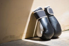 Black leather boxing gloves Royalty Free Stock Photo