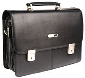 Black leather briefcase Royalty Free Stock Images