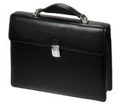 Black leather briefcase Stock Photo