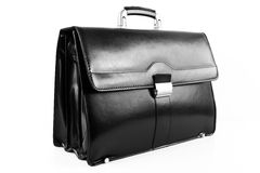 Black leather briefcase Royalty Free Stock Image