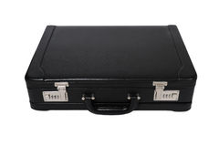 Black leather briefcase. With two safety locks Stock Image