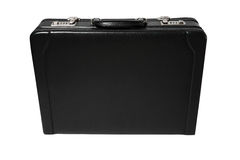 Black leather briefcase. With two safety locks Stock Photography