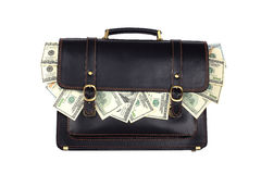 Black leather briefcase with dollars isolated on white backgroun Stock Photos