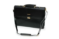 Black leather briefcase isolat. Ed  on the white Stock Photography