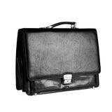 Black leather briefcase. Royalty Free Stock Images