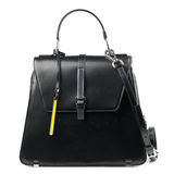 Black leather briefcase isolated on white background. Stock Photo