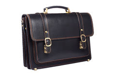Black leather briefcase isolated on white Royalty Free Stock Photography