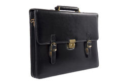 Black leather briefcase over white Stock Image