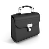 Black leather briefcase on white background Royalty Free Stock Photo