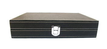 Black leather case for confidential documents Royalty Free Stock Photo