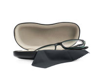 Black leather case for glasses isolated Royalty Free Stock Photography