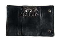 Black leather case for keys Royalty Free Stock Image