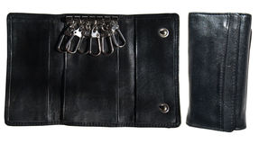 Black leather case for keys Royalty Free Stock Photos