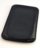 Black leather case for mobile phone Stock Image