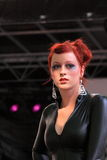 Black leather on the catwalk Stock Photos
