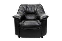 Black leather chair on a white background Stock Photography