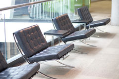 Black leather chairs Royalty Free Stock Photos