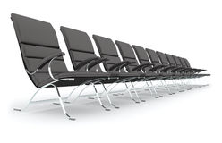 Black leather chairs. For a business meeting isolated on white Stock Images