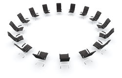 Black leather chairs in circle. Black leather chairs for a business meeting isolated on white Royalty Free Stock Photography