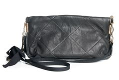 Black leather clutch isolated Royalty Free Stock Photo