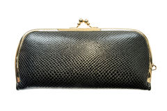 Black leather clutch Royalty Free Stock Photos