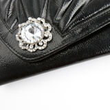 Black leather coin purse Stock Images
