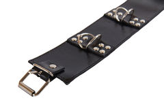 Black leather collar with a rivets and a metal ring Stock Photography