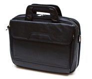 Black leather computer bag Royalty Free Stock Image