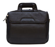 Black leather computer bag Royalty Free Stock Photos
