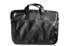 Black leather computer bag Stock Images