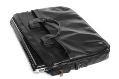 Black leather computer bag with laptop Royalty Free Stock Photography