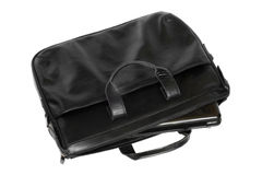 Black leather computer bag with laptop Stock Images