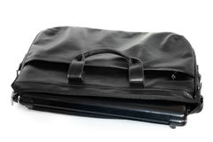 Black leather computer bag with laptop Stock Photography