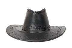 Black leather cowboy's hat Stock Images